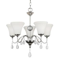 Fluorescent West Town Five Llight Chandelier in Chrome with Etched Glass Painted