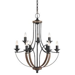 Corbeille Nine Light Candelabra Chandelier in Stardust
