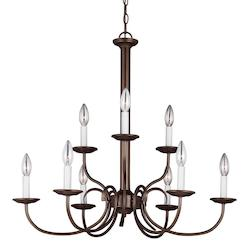 Holman Nine Light Candelabra Chandelier in Bell Metal Bronze