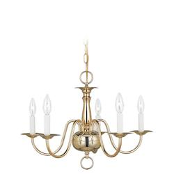 Five-Light Brass Chandelier