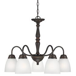 Northbrook Five Light Downlight Chandelier in Roman Bronze with Satin Etched Gla