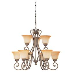 Nine Light Bronze Up Chandelier