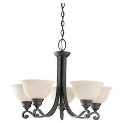Five Light Black Up Chandelier