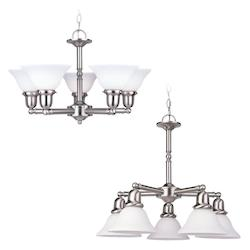 Five-Light Sussex Fluorescent Chandelier-Nickel