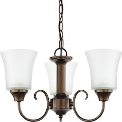 Fluorescent Holman Three Light Chandelier in Bell Metal Bronze with Satin Etched