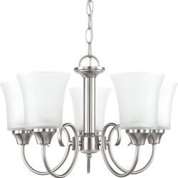 Fluorescent Holman Five Light Chandelier in Brushed Nickel with Satin Etched Gla