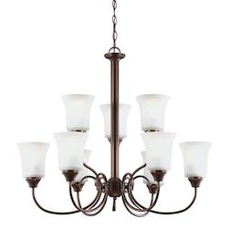 Fluorescent Holman Nine Light Chandelier in Bell Metal Bronze with Satin Etched
