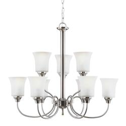 Fluorescent Holman Nine Light Chandelier in Brushed Nickel with Satin Etched Gla