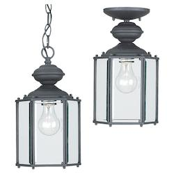 Outdoor Pendant One Light Black with Clear Beveled Glass