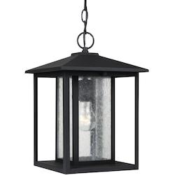 Hunnington One Light Outdoor Pendant in Black with Clear Seeded Glass