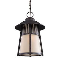Hamilton Heights One Light Outdoor Pendant in Oxford Bronze with Smokey Parchmen