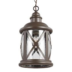 Lakeview One Light Pendant in Antique Bronze with Clear Seeded Glass