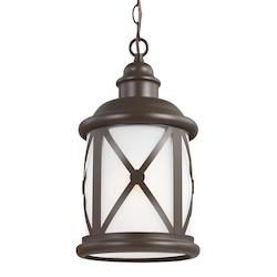 Fluorescent Lakeview One Light Outdoor Pendant in Antique Bronze with Etched See