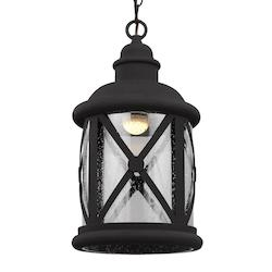Lakeview LED Outdoor Pendant in Black with Clear Seeded Glass