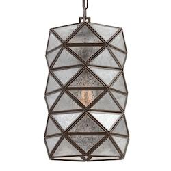 Harambee Medium One Light Pendant in Heirloom Bronze with Mercury Glass