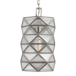 Harambee Medium One Light Pendant in Antique Brushed Nickel with Seeded Water Gl