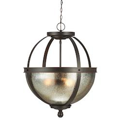 Fluorescent Sfera Three Light Pendant in Autumn Bronze with Mercury Glass