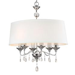 West Town Six Light Island Pendant in Chrome with White Faux Linen Shade