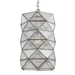 Harambee Large One Light Pendant in Antique Brushed Nickel with Seeded Water Gla