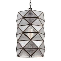 Fluorescent Harambee Large One Light Pendant in Heirloom Bronze with Mercury Gla