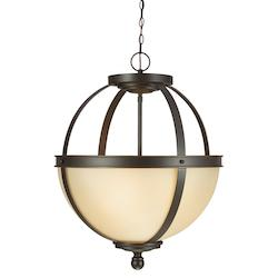 Fluorescent Sfera Three Light Pendant in Autumn Bronze with Cafe Tint Glass