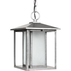 Fluorescent Hunnington One Light Outdoor Pendant in Weathered Pewter with Seeded