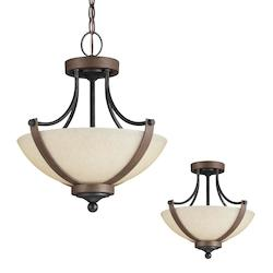 Fluorescent Corbeille Two Light Semi-Flush Convertible Pendant in Stardust with