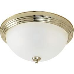 Three Light Fluorescent Close to Ceiling Fixture in Polished Brass Finish