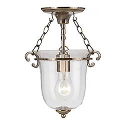 Antique Brass Pendant 1 Light Pendant with Glass shade