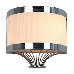 Two Light Metallic Chrome White Pleated Shade Wall Light