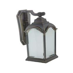 One Light Black Frosted With Clear Edges Glass Wall Lantern