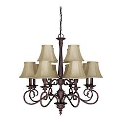 Twelve Light Mediterranean Bronze Up Chandelier