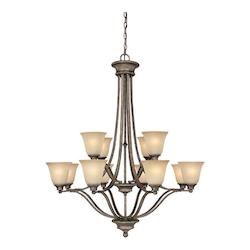 Twelve Light Creek Stone Up Chandelier