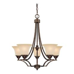 Five Light Rustic Up Chandelier