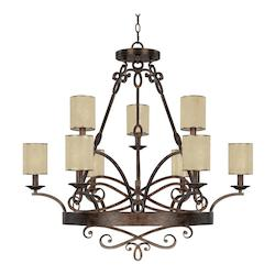 Rustic Reserve 9 Light 2 Tier Chandelier