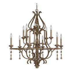 French Brown 10 Light 34in. Wide Chandelier from the Avignon Collection