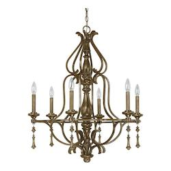 French Brown 6 Light 29in. Wide Chandelier from the Avignon Collection