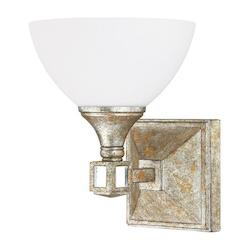 One Light Silver And Gold Leaf With Antique Mirrors Wall Light