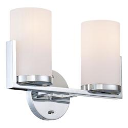 2-Lite Vanity, Chrome/Frost Glass Shade, E27 Type A 60Wx2