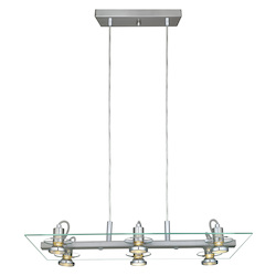 6X50W Multi Light Pendant W/ Matte Nickel Finish & Clear Glass
