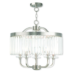 Ashton Brushed Nickel Convertible Chandelier/Ceiling Mount