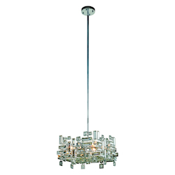 Picasso Collection Pendant Lamp L:14In. W:14In. H:9In. Lt:4 Chrome Finish