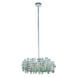 Picasso Collection Pendant Lamp L:18In. W:18In. H:9In. Lt:4 Chrome Finish