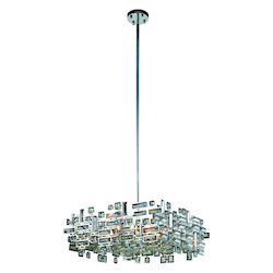 Picasso Collection Pendant Lamp L:21In. W:21In. H:9In. Lt:6 Chrome Finish