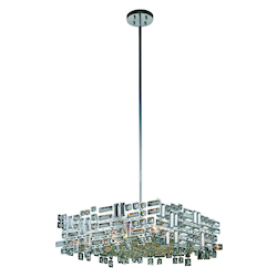 Picasso Collection Pendant Lamp L:24In. W:24In. H:9In. Lt:6 Chrome Finish