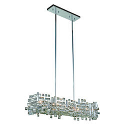 Picasso Collection Pendant Lamp L:35In. W:11In. H:9In. Lt:6 Chrome Finish