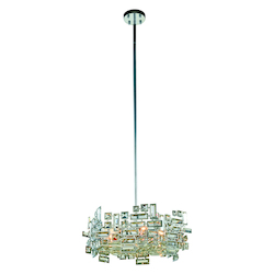 Picasso Collection Pendant Lamp D:20In. H:8In. Lt:6 Chrome Finish Royal Cut