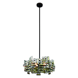 Picasso Collection Pendant Lamp D:20In. H:8In. Lt:6 Dark Bronze Finish Royal