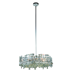 Picasso Collection Pendant Lamp D:24In. H:8In. Lt:6 Chrome Finish Royal Cut