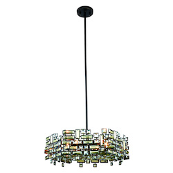 Picasso Collection Pendant Lamp D:24In. H:8In. Lt:6 Dark Bronze Finish Royal